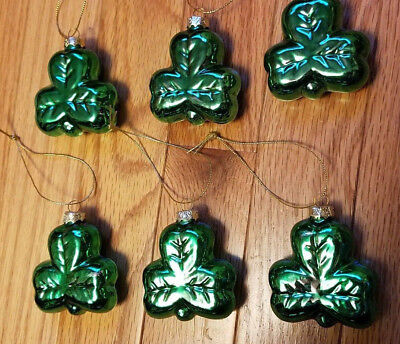 NEW SET OF 6 GLASS GREEN SHAMROCK ORNAMENTS St. Pat Patrick Day  Feather Tree