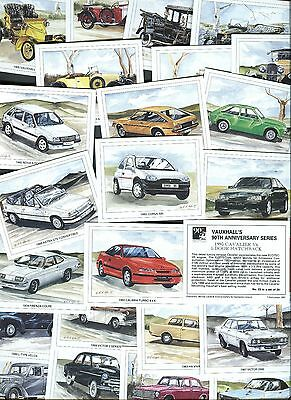 "VICTORIA GALLERY 1993  SET OF 25 ""VAUXHALL 90th ANNIVERSARY SERIES"" TRADE CARDS"