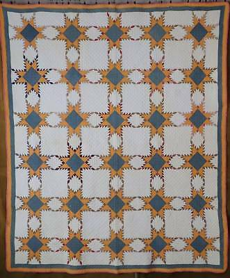 Exceptional! Antique c1870 Feathered Star QUILT Cheddar & Confederate Blue