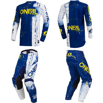 ONeal Element Shred Blue motocross MX dirt bike gear - Jersey Pants combo set