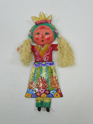 DOLL coconut shell mask, wall decoration, mexican handmade, colorful folk art