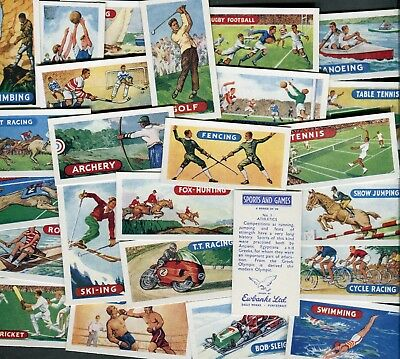 "Ewbanks 1958 Set Of 25 ""sports & Games"" Golf Cricket Boxing Trade Cards"