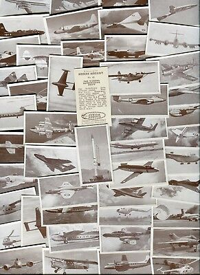"Sweetule 1954 Set Of 50 ""modern Aircraft"" Trade Cards"