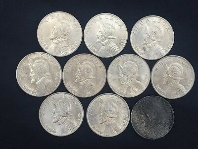 Ten 1947 Panama 1 Balboa Silver Coins from Uncirculated Roll