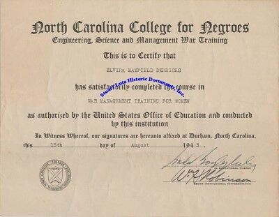 North Carolina College for Negroes certificate for WW2 work - given to woman