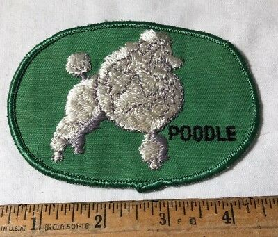 Vintage Poodle Show Dog Embroidered Patch Green White Sew On