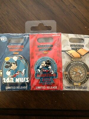Walt Disney World 2019 Marathon Weekend Mickey Marathon 26.2 Set Of 3 Pins LR