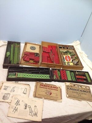 huge job lot vintage meccano wooden tray rare instruction books pre war 1930's ?