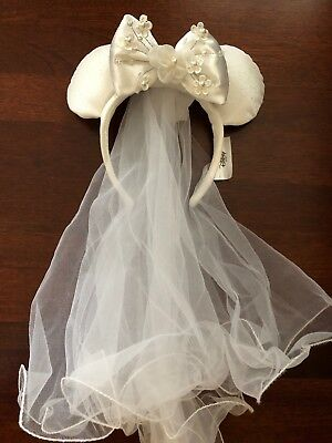 WDW Minnie Mouse Wedding Veil Ears Bride Headband Disney World Theme Parks NEW