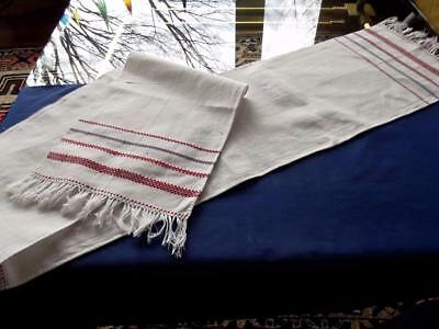 Antique Textile Chic Pure Linen Woven Red Stripes Long 10x70 Runner Show Towel