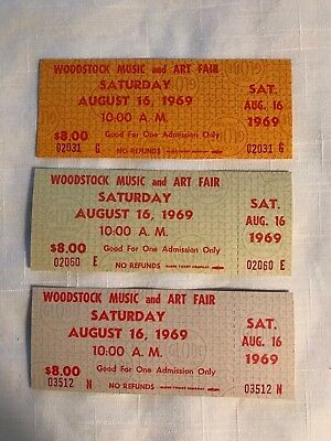 Woodstock 1969 Tickets Saturday All 3 Colors  & Poster Jimi Hendrix