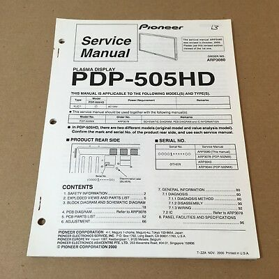 Pioneer Service Manual Order No. ARP3080 PDP-505HD 99 Pages