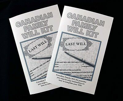 2 Canadian Family Will Kits & Planning Guide for Parents with instructions