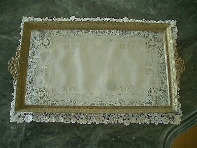 Large Antique Vtg Embossed Brass Glass Vanity Tray *Swags *Garlands *Bows