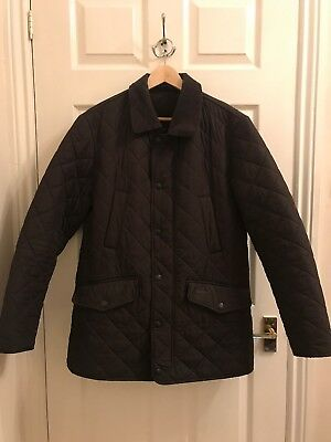 Barbour Men's Quilted Diamond Stitch Jacket Brown Large Zip Through