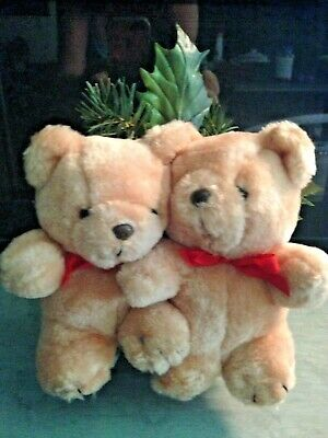 """Christmas Tree Topper Teddy Bears 10""""x 7""""Holly Berries Pine ConesCan Add Star"""