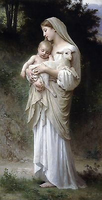 "William Bouguereau, L' Innocence, Baby Lamb, Mother, antique, 20""x10"" Canvas Art"