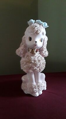 "Vintage 6"" Pink Girly Spaghetti Poodle Figurine Flowers on Head & Gold Accent"