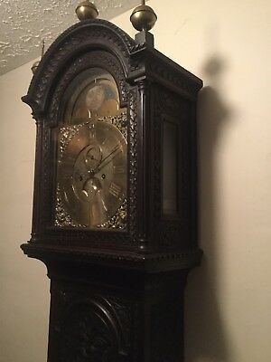 MAGNIFICENT CARVED 18TH C SUN MOON DIAL LONDON Tall Case Long Grandfather Clock