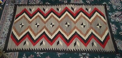 Vintage Navajo Hand Woven Blanket 36 by 68 Inches