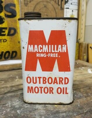 Early Rare Full NOS MACMILLAN RING-FREE OUTBOARD Vintage Metal Motor Oil Can Old