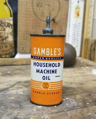 RARE VINTAGE 1930-40's GAMBLE'S MACHINE OIL HANDY OILER LEAD TOP OIL TIN CAN