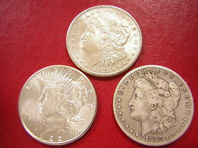 Lot of 3 Silver Dollars,Morgan & Peace  / 1921-s  1922-s  1882-s / U S Coins 830