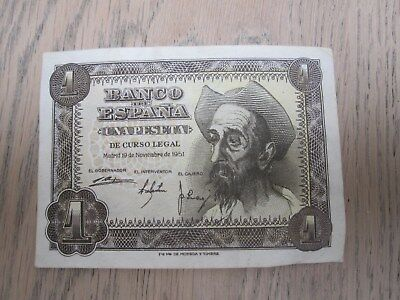 Spain 1 peseta note 1951 Don Quixote nearly perfect condition