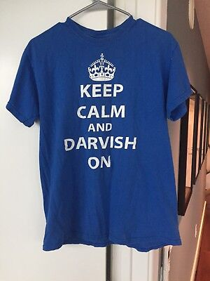 """Keep Calm and Darvish On"" Blue Size Medium 100% Cotton T-Shirt"