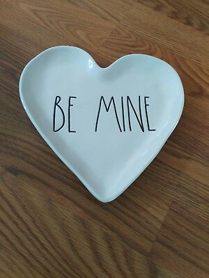 New Rae Dunn BE MINE Valentines Day 2019 Black Heart Shaped Plate