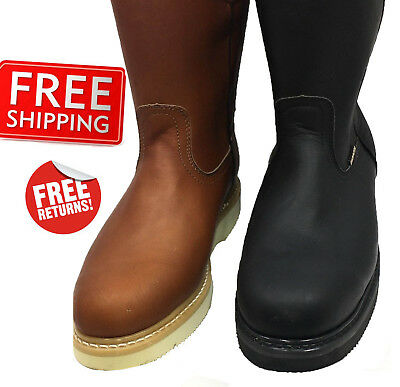 MEN/'S GENUINE COWHIDE LEATHER LACES BROWN//BLACK WORK BOOTS BEST QUALITY CR9203