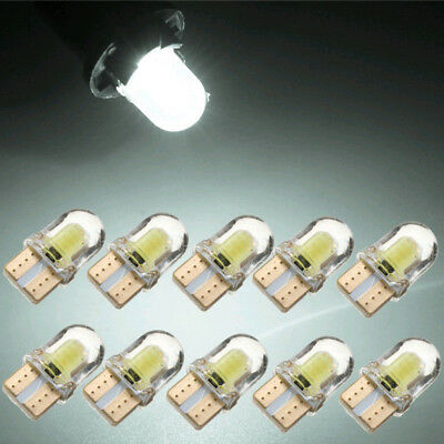 10x White T10 194 168 W5W COB 8SMD LED CANBUS Silica Bright License Light Bulbs
