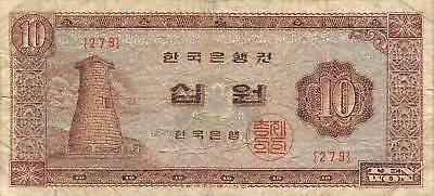 Korea  10  Won  ND. 1965  P 33e  Block { 279 }  Circulated Banknote GKF