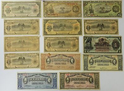 (14) Series 1914 To 1919 Mexican 1 to 20 Pesos Currency Notes You Grade It O6