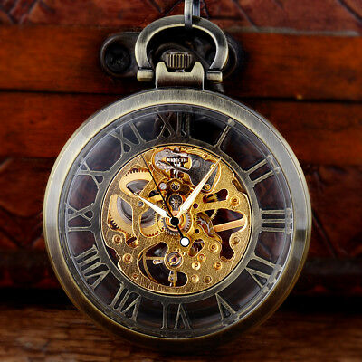 Bronze Steampunk Mechanical Pocket Watch Pendant Antique Vintage Retro Men Gift