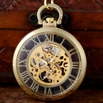 Vintage Gold Steampunk Mechanical Skeleton Pocket Watch Chain Pendant Open Face