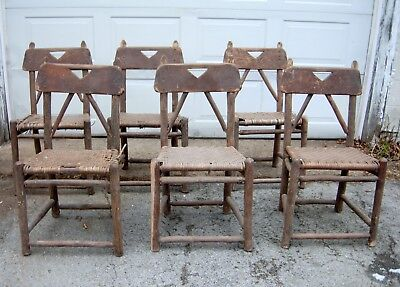 """Set of Six """"OLD HICKORY"""" Dining Chairs Arts & Crafts For Restoration Barn Find"""
