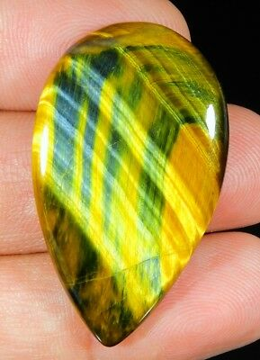 34 Ct Natural Blue Pietersite Fire Tiger's Eye Pear Cabochon Loose Gemstone B184