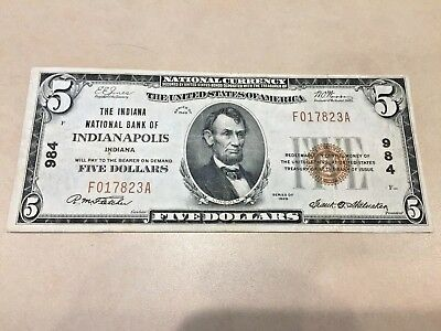1929 $5 National Currency Indiana National Bank of Indianapolis CH 984