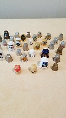 Thimble Vintage Sewing Lot of States, Advetising, Souvenir and some plain ones