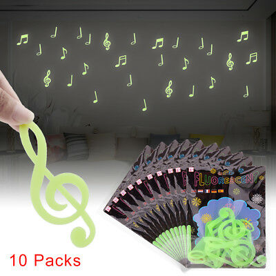 150pcs Music Note Glow In the Dark Bedroom Ceiling Decor Wall Stickers Art DIY