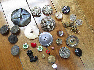 Vintage Antique Ornate Victorian Button Lot Brass Mop Glass Metal Etc (t)
