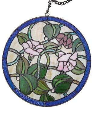 Victorian Trading Co Morning Glory Floral Stained Glass Hanging