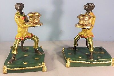 Pair of Vintage Cold Painted Bronze Monkey Candle Holders, Bergman Style