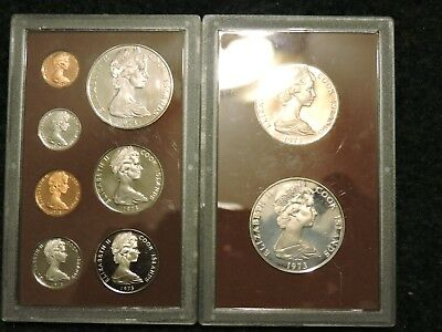 1973 Cook Islands 9 coin Proof Set w/two SILVER Coins