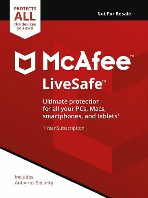 McAfee LiveSafe 2019, Unlimited Devices, For 1 Year (RETAIL PRICE £79.99)
