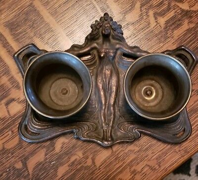 VintagevArt Nouveau Metal Tray Woman w/Flowing Hair and 2 bowls