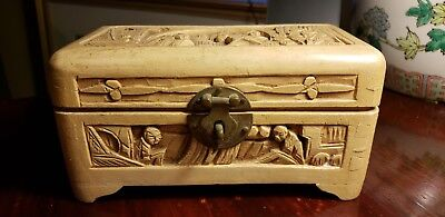 Vintage Antique Ornate Wood Hand Carved Chinese Asian Box Jewelry Trinket Chest