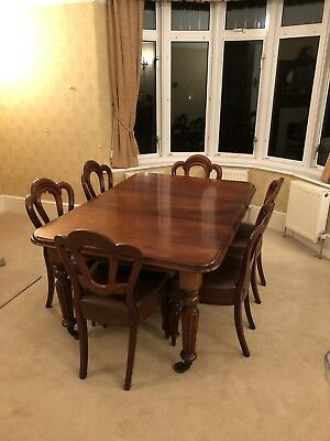 Antique Victorian Extendable Wind Out Table In Mahogany And Six Matching Chairs