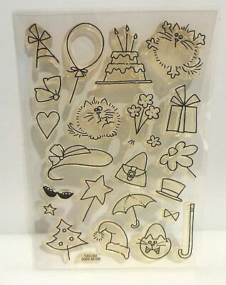 Stampendous FLUFFLES THE CAT Clear Birthday Christmas Kitty Clear Rubber Stamps